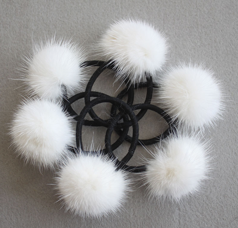 PicPop Mink Pompom Hair Bobble - White - Pic Pop