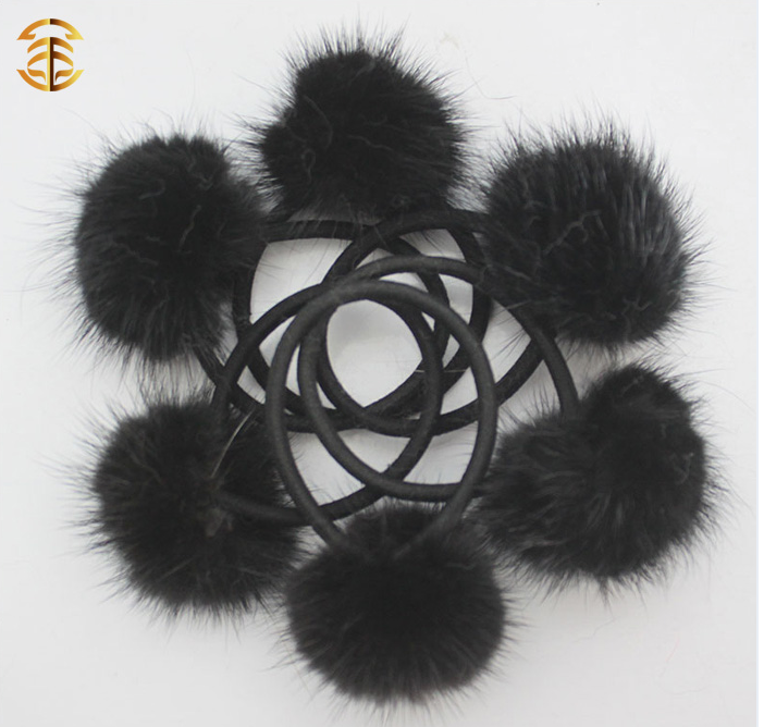 PicPop Mink Pompom Hair Bobble - Black - Pic Pop