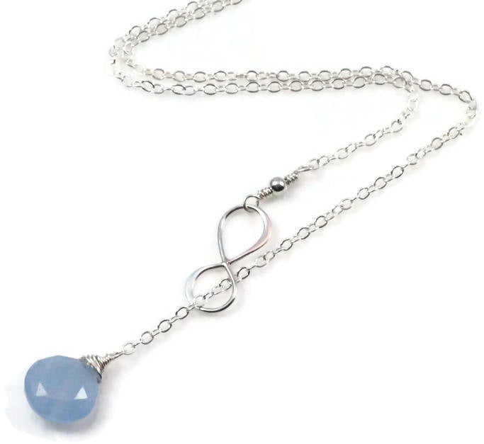 Light Blue Stone Infinity Necklace