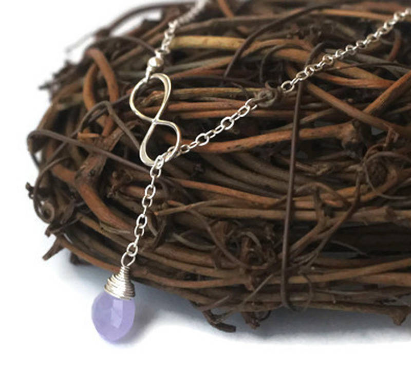 Light Purple Gem Infinity Lariat
