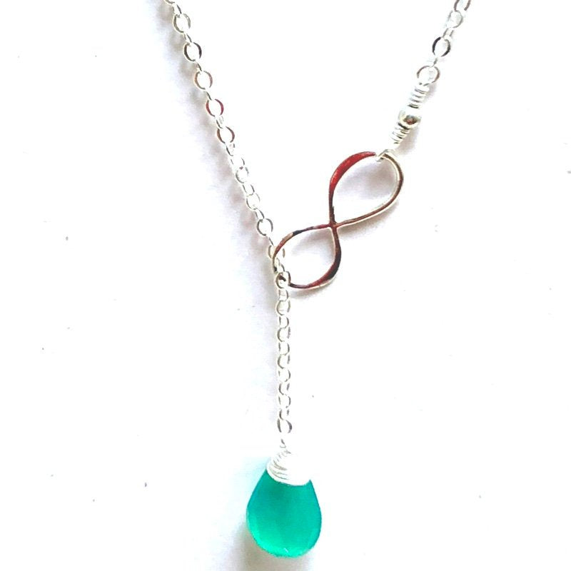 Dark Green Stone Infinity Necklace