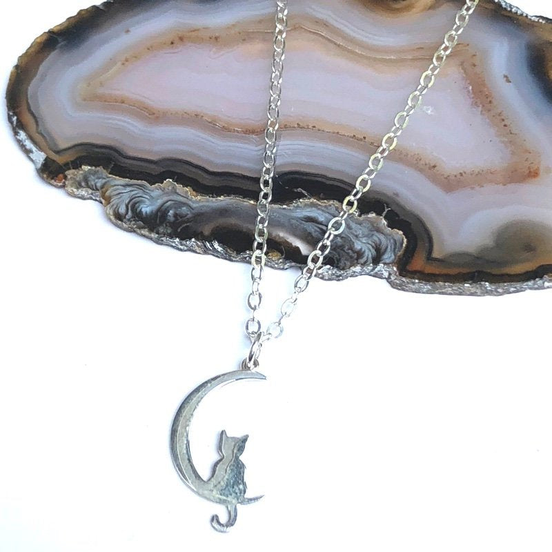 Cat in the Moon Charm Necklace