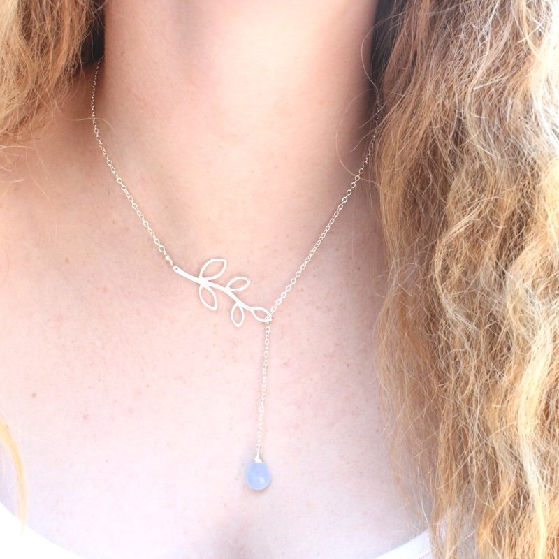 Blue Stone Vine Lariat Necklace
