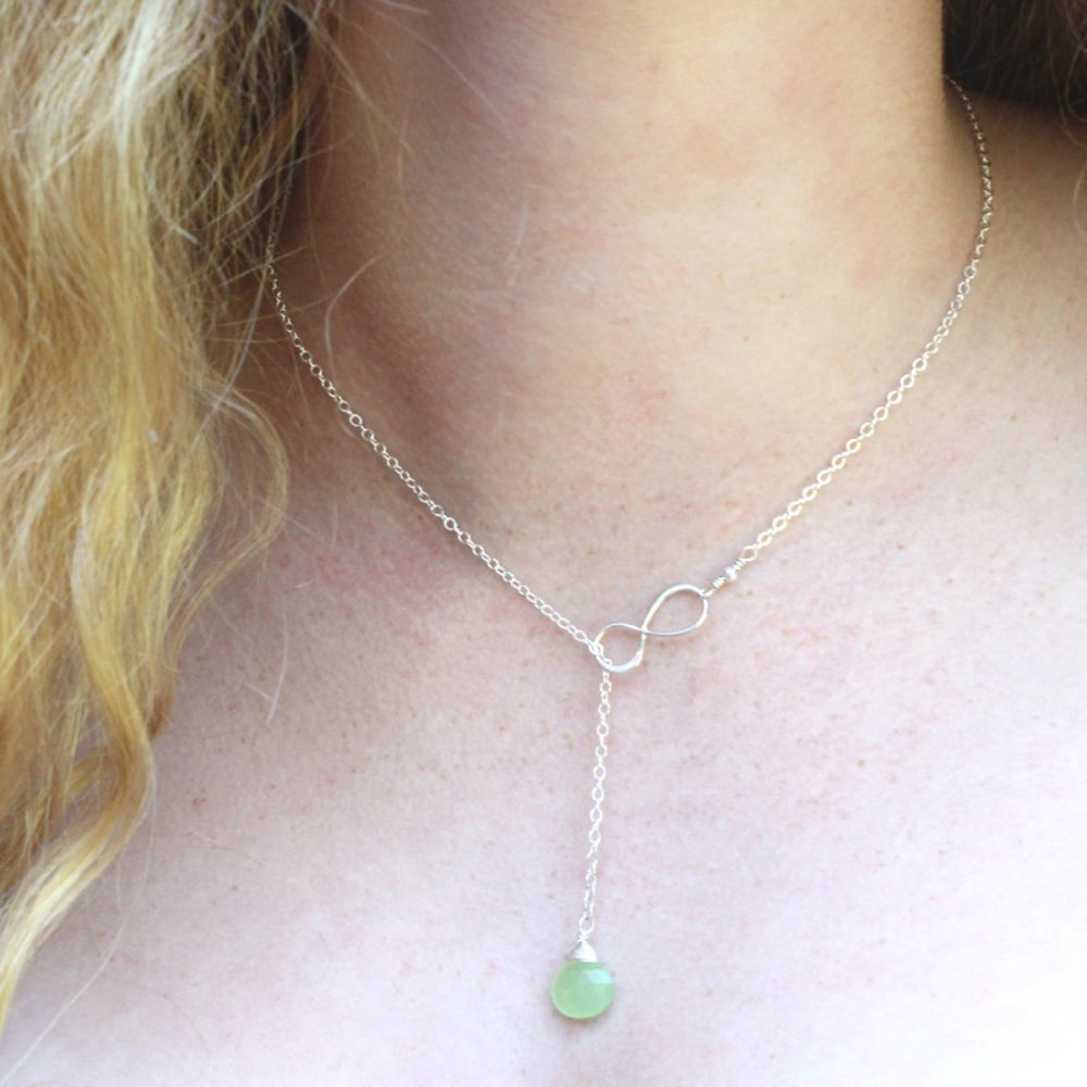 Lime Green Stone Infinity Lariat