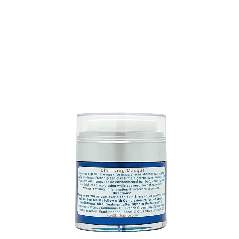 Clarifying Masque / Aromatherapy Facial Masque for Toning, Impurities, Brown Spots / French Green Clay / Seaweed / Lemon / Frankinscence