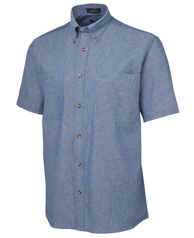 BWC4CUS Cotton Chambray S/S Shirt Blue Stitch