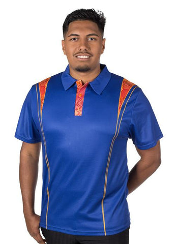 Custom Mens Polo Shirts Indigenous Aboriginal Designs Blue Orange