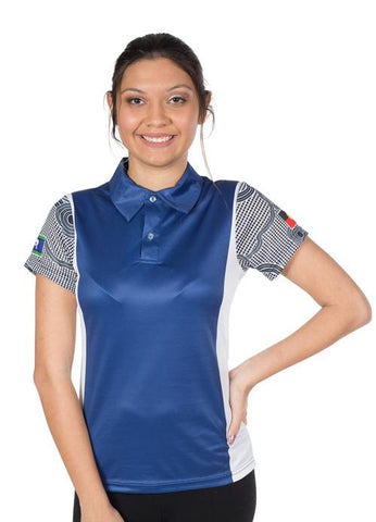 Custom Womens Polo Shirts Indigenous Aboriginal Designs Blue White
