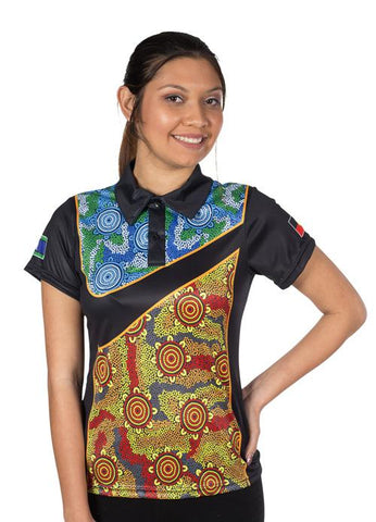 Custom Womens Polo Shirts Indigenous Aboriginal and Torres Strait Islander Designs