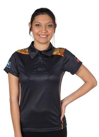 Custom Womens Polo Shirts Indigenous Aboriginal Designs Black Dot Art