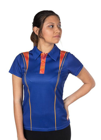 Custom Womens Polo Shirts Indigenous Aboriginal Designs Blue Orange