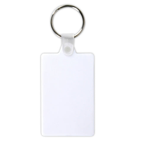 BW102 White Rectangular Soft PVC Keytag