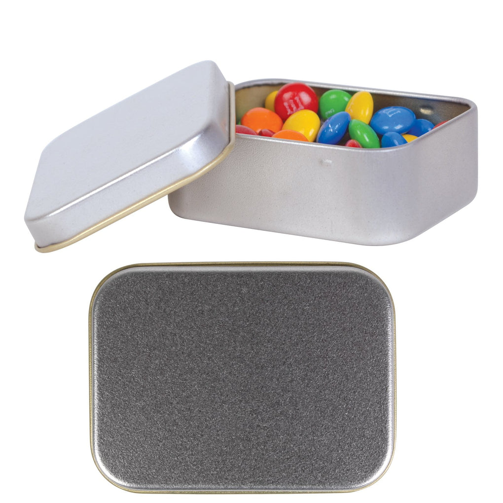 BWP M&M's in Silver Rectangular Tin