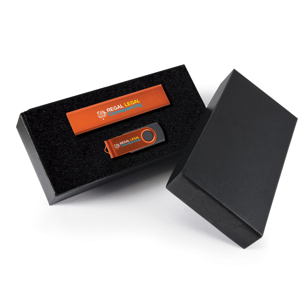 BW8213 Style Gift Set - Velocity Power Bank and Swivel Flash Drive