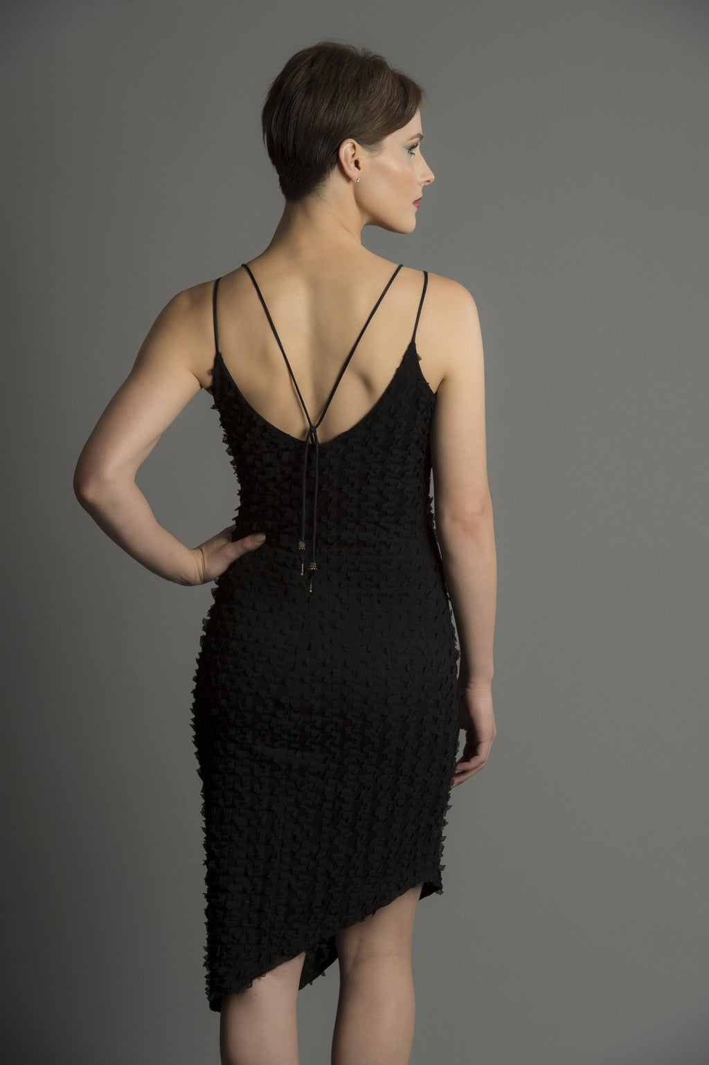 LUXE LAYERS: Tendril Flutter Beaded Strap Dress