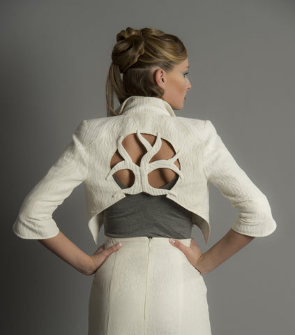Ygg Crop Jacket in Linen Silk Cloqué textures