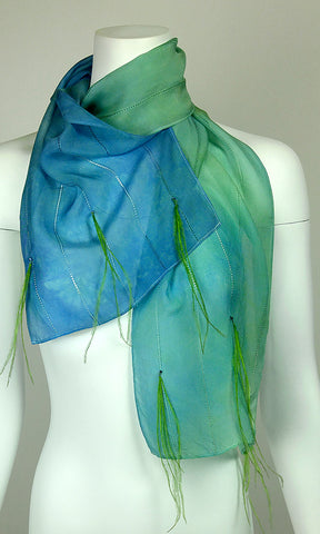 Silk and Feather Chiffon Scarf