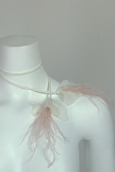 Fuchsia Feather Silk Lariat