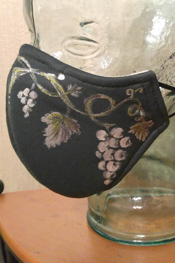 Silver Leaves and Grapes Hand-Painted Mask Adult Size
