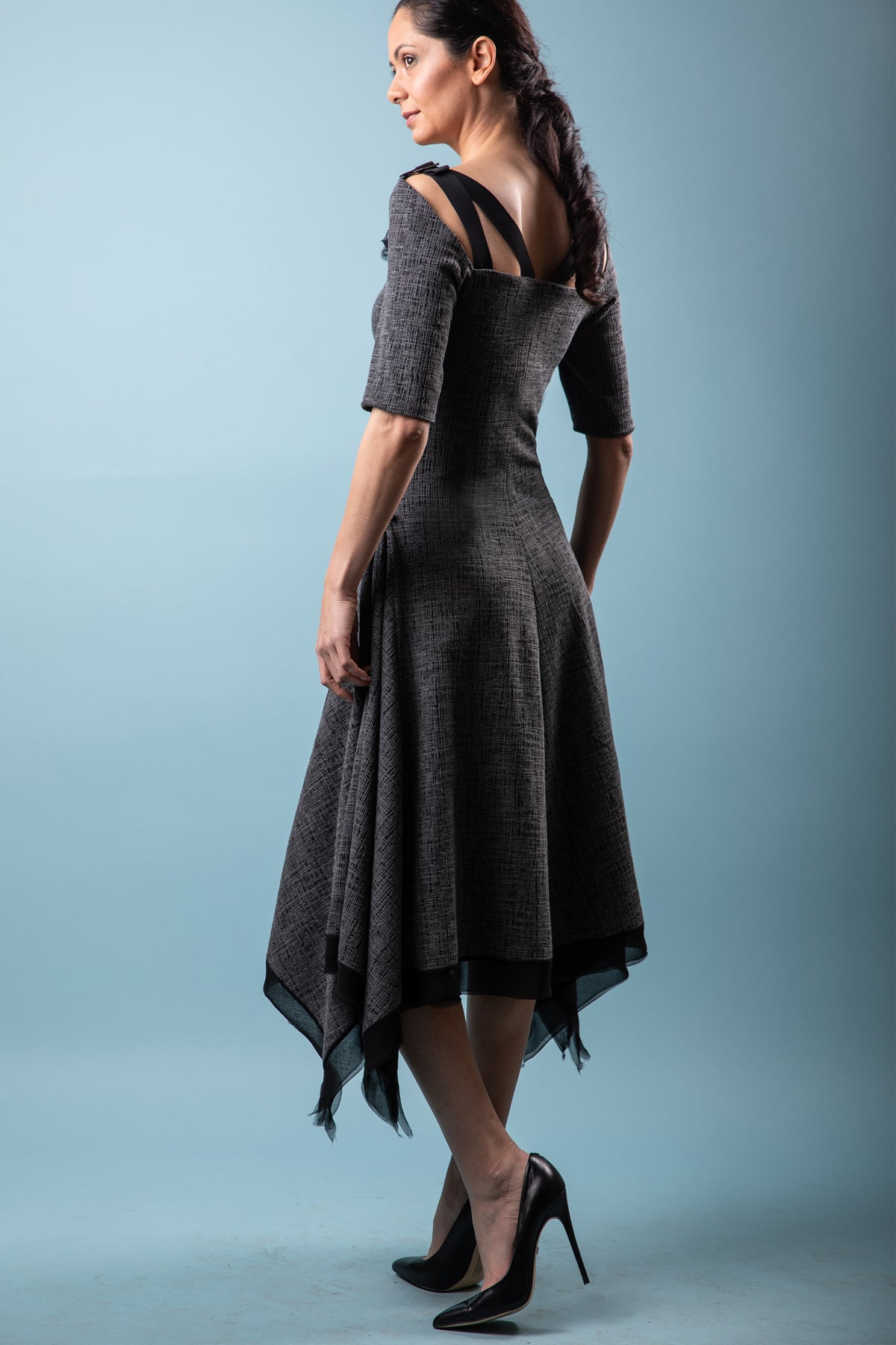 Renn Flare Borealis Jacquard Dress with open back. More Colours.