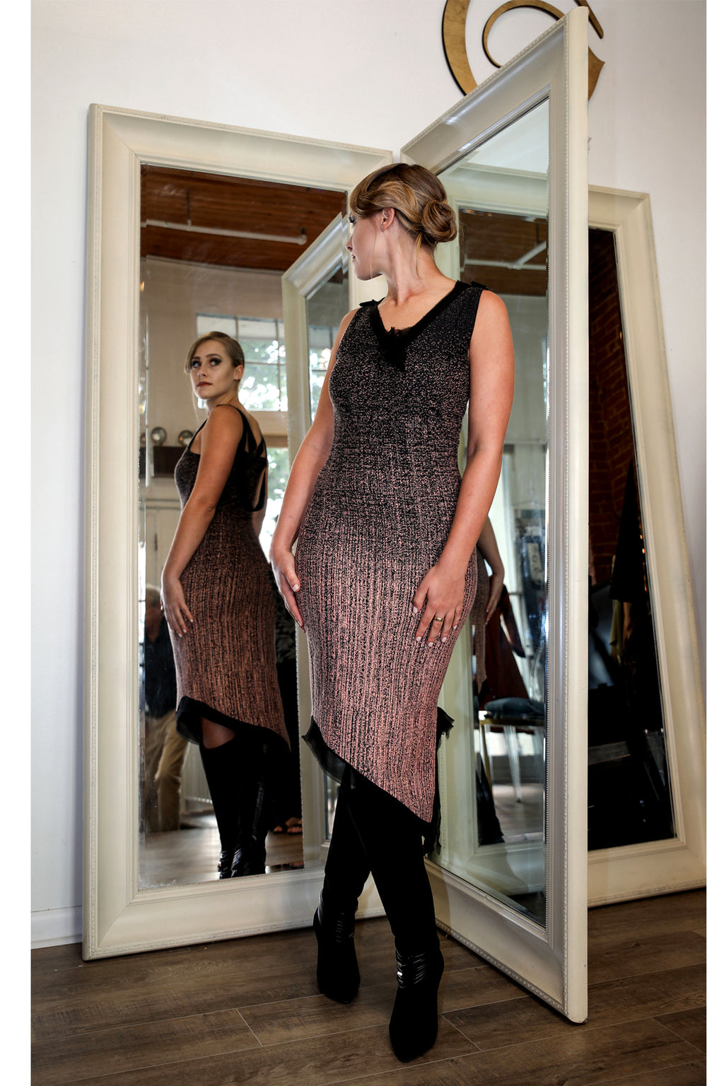 Sleeveless Renn Borealis Jacquard Dress. More Colours