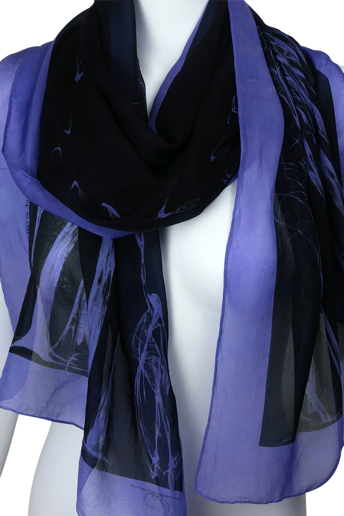 Égérie Forest Border Silk Scarf Light on Black.