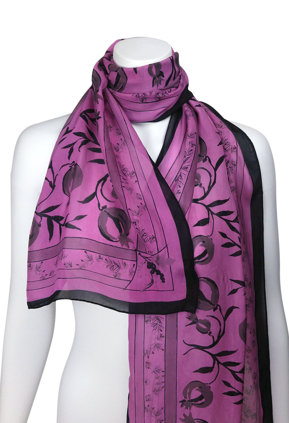4. Three Gifts Pomegranate Scarf LONG Chiffon