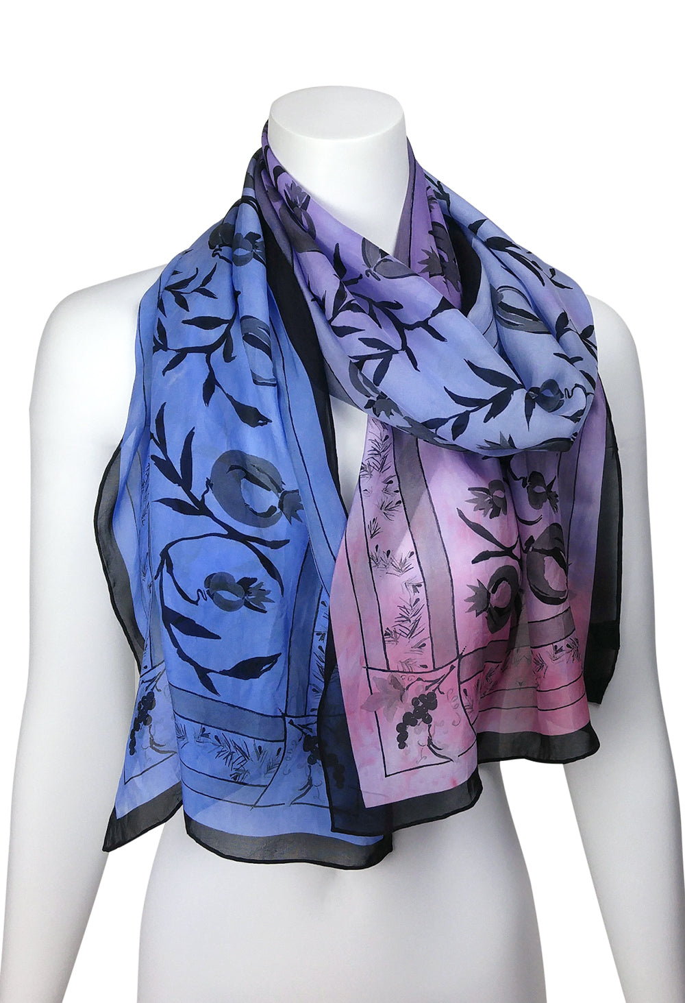 Three Gifts Pomegranate Scarf LONG Chiffon