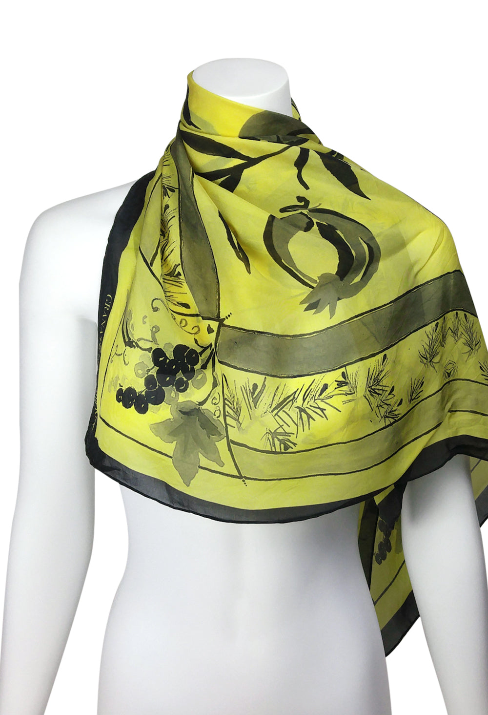 Three Gifts Pomegranate Scarf SQUARE  Chiffon