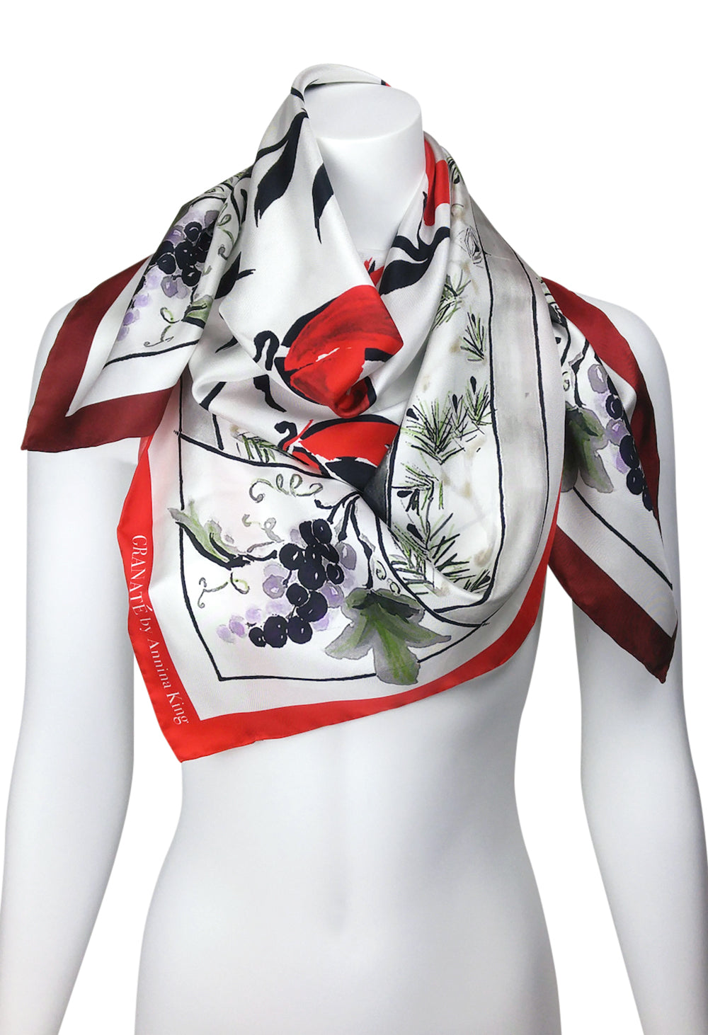 RED Three Gifts Pomegranate Scarf Square Silk Twill