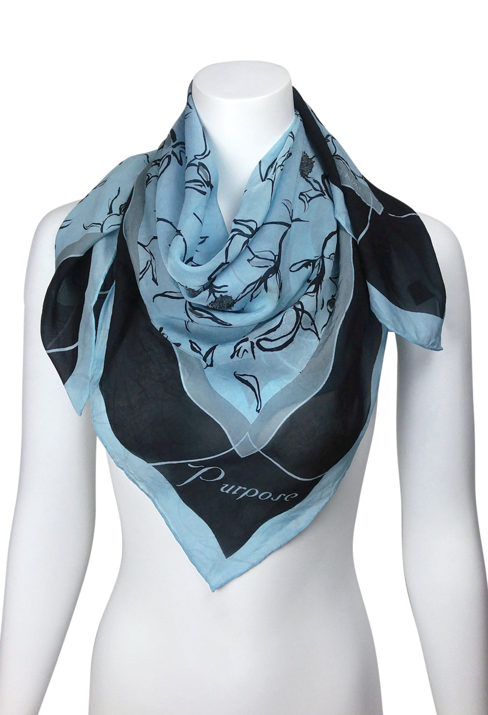 POISED/PURPOSE Pomegranate Scarf SQUARE  Chiffon