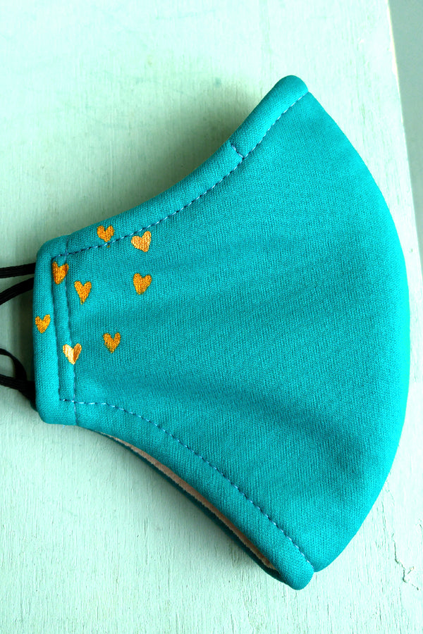 Metallic Teal Hearts Mask Donation