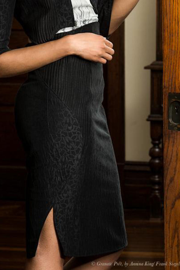 Midnight Sun High-Waist shaped vent Pencil Skirt
