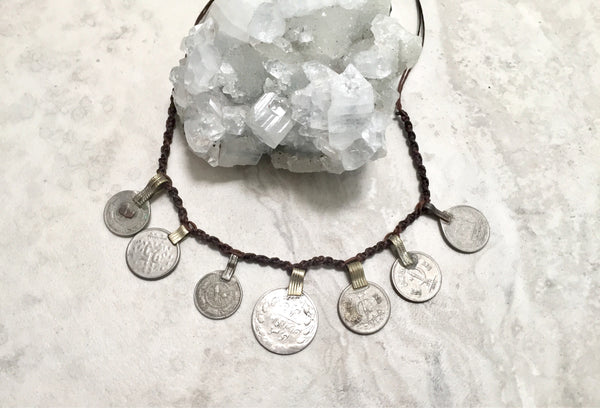 Vintage Kuchi coin gypsy choker/ necklace, boho, festival jewellery