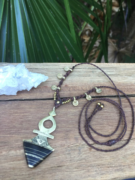 Moroccan Tuareg charm choker, tribal Berber neckpiece, adjustable, tribal jewellery with brass beads, boho