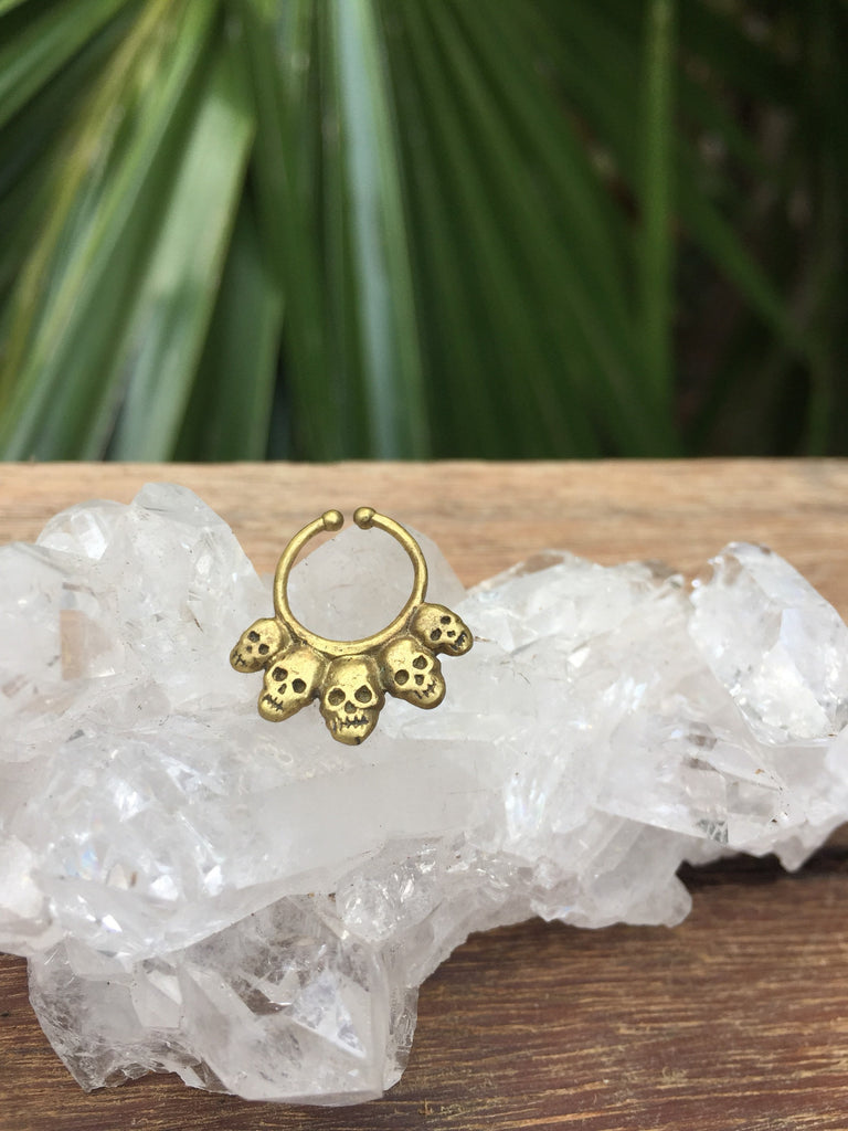 Skull Faux brass septum ring