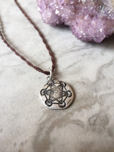 Sacred geometry symbol necklace or choker, fine silver necklace, Metatrons cube
