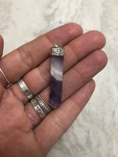 Silver capped Amethyst crystal necklace