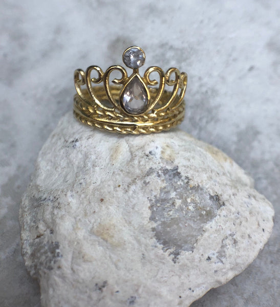 Smoky Quartz gemstone ring, brass ring, crystal ring, gold ring, queen ring, king ring