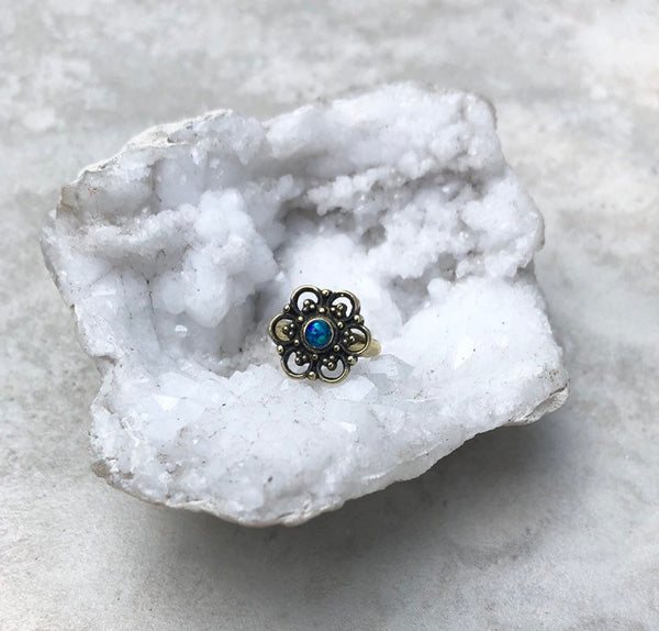 Cosmic blue Opal Gypsy toe ring~ adjustable, brass, gold toe ring, TR18