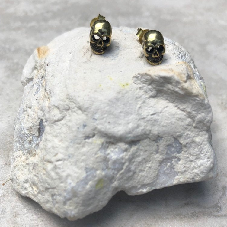 Brass Skull stud earrings, gold studs