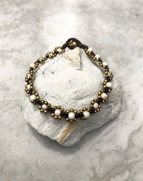 Howlite and brass beaded bracelet, howlite bracelet, bell bracelet