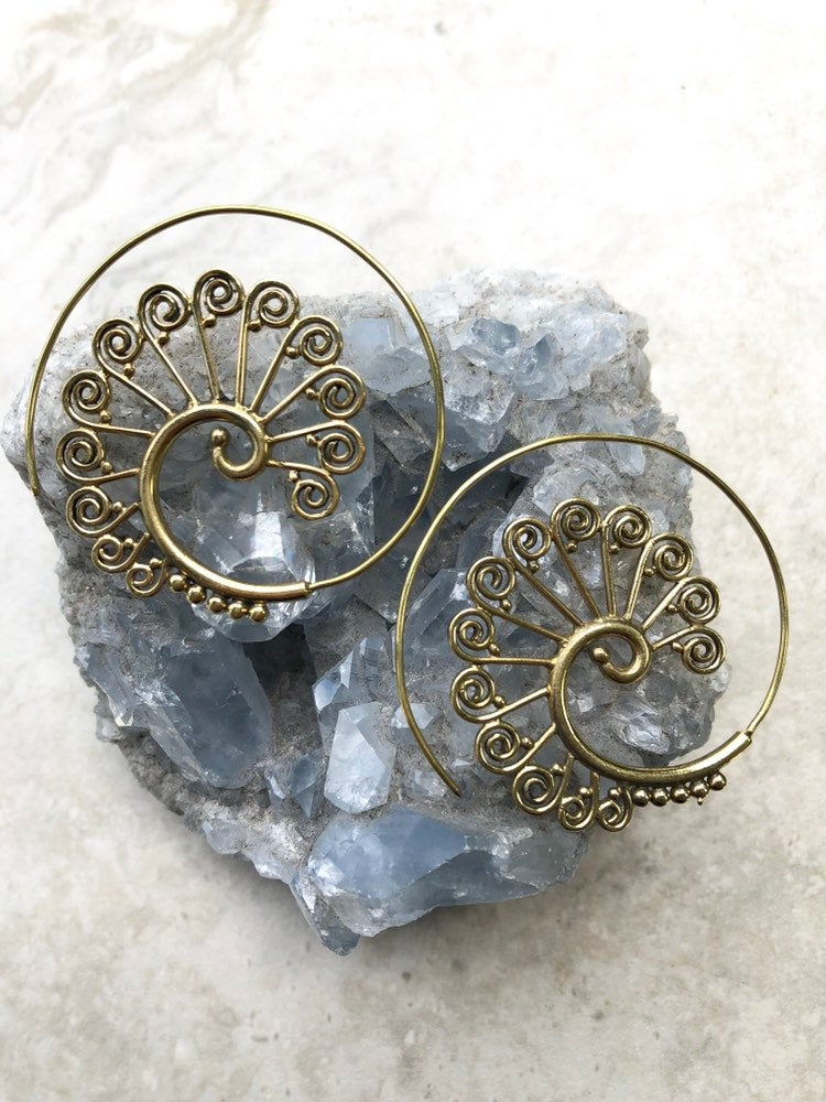 Large spiral hoop earrings, gold spiral earrings, gypsy spiral earrings, brass spiral earrings