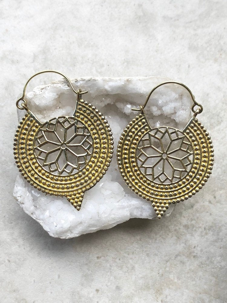 Mandala earrings, brass earrings, gold flower earrings, tribal earrings, BE 42