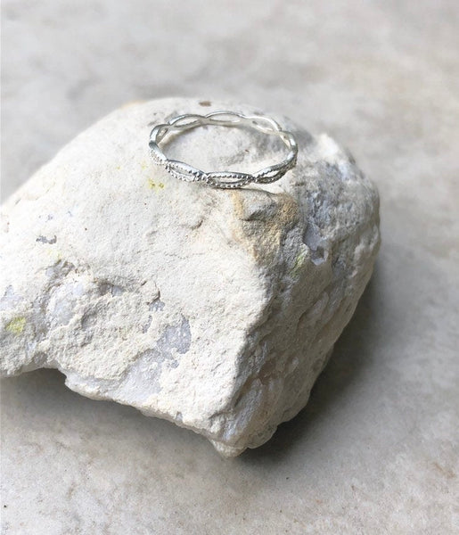 stackable entwined Sterling Silver ring,  twisted ring, delicate silver ring