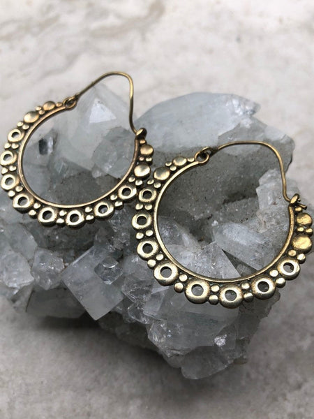 Brass hoop earrings, Tribal hoop earrings, gold hoop earings, boho hoop earrings, BE 6