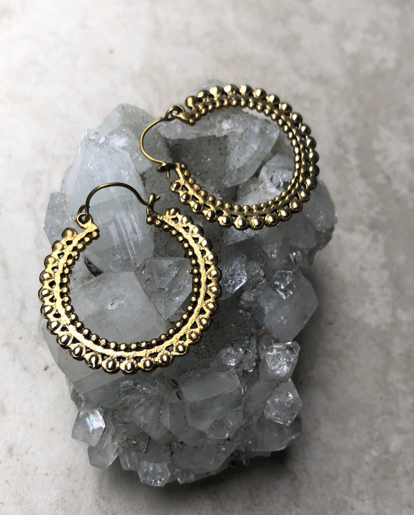 Brass shiva hoop earrings, gypsy earrings, boho earrings, tribal earrings, BE51