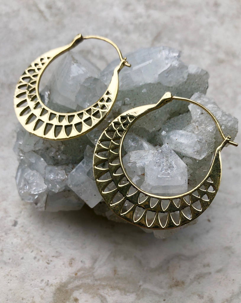 Brass tribal hoop earrings, gold hoops, gypsy hoop earrings, boho hoop earrings, nickel-free earrings, geometric earrings, BR 31