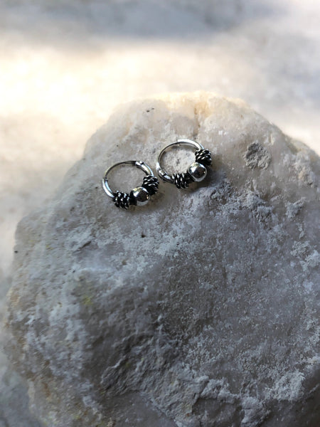 Tiny Tribal sterling silver hoop earrings, 0.8 cm hoop earrings, silver hoop earrings, small hoop earrings, small hoops, mini hoops, BH20