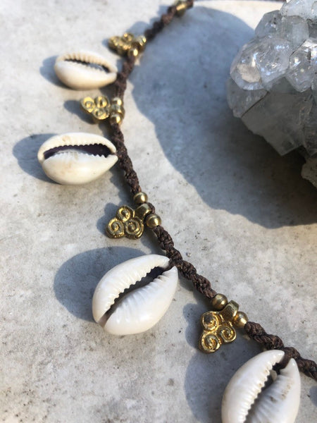 Ula cowrie shell Choker~ Handmade Macrame adjustable choker necklace, boho necklace, shell necklace, shell choker